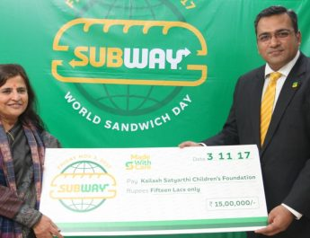 SUBWAY DONATES Rs 15 lakhs FOR UNDER PRIVILEGED CHILDREN IN INDIA