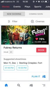 Screenshot of BookMyShow App