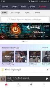 Screenshot of Jukebox - BookMyShows Audio Entertainment Offering