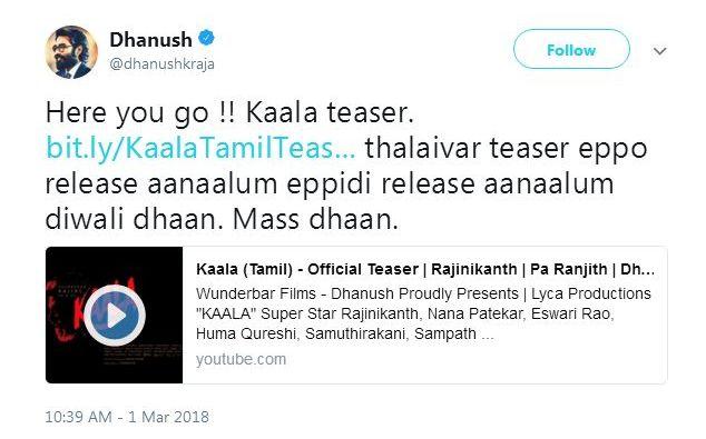 Dhanush-Tweet-SuperStar-Rajinikanth-Starrer-Kaala-Teaser-Release