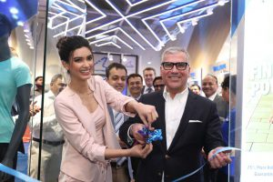 Diana Penty with Alexis Nasard at the Worlds first exclusive POWER Sportswear Store launch
