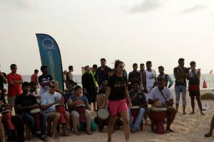 Drum circle activity marking the closing of the 150-day TeraMeraBeach campaign rolled out by Drishti Marine at Baga Beach