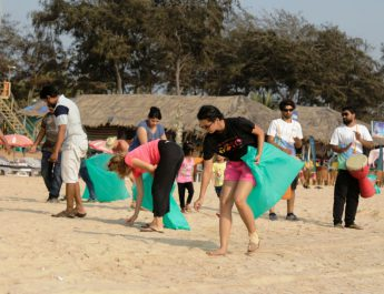 Marking the last day of TeraMeraBeach campaign rolled out by Drishti Marine tourist and visitors engaged in a beach cleaning drive at Baga Beach