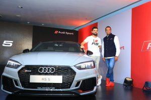 Rahil Ansari with Indian Cricket Team Captain Virat Kohli unveiling the Audi RS 5 Coupe in Bengaluru