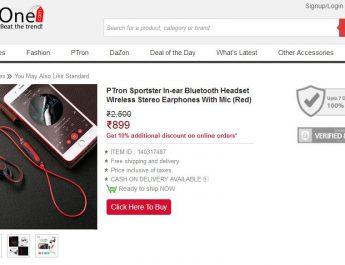 PTron Sportster In-ear Bluetooth Headset Wireless Stereo Earphones With Mic
