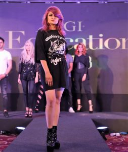 Model sporting the pantone color of the year at the TIGI Retrospective Collection