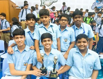 Students of Blue Bells Public School with Industrial Design Championship Trophy