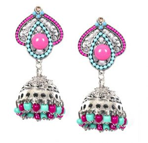 ayesha metallic silver traditional pink and blue beaded jhumki earrings RS 898 - 8903705137298