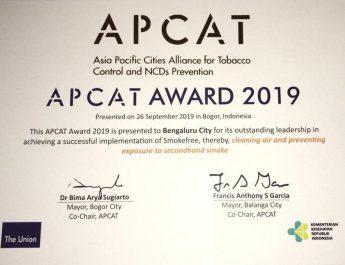 Bengaluru Wins Global Prize for Implementing Smoke-Free Laws - APCAT award