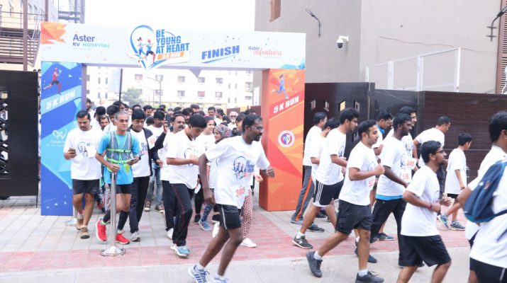 Aster RV and Aster CMI Hospitals in association with Aster Volunteers organized BE YOUNG AT HEART 5K RUN