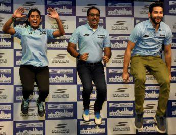 Mithali Raj - Rahul Vira - Skechers South Asia CEO and Siddhant Chaturvedi at jersey unveiling of Skechers Performance Mumbai Walkathon