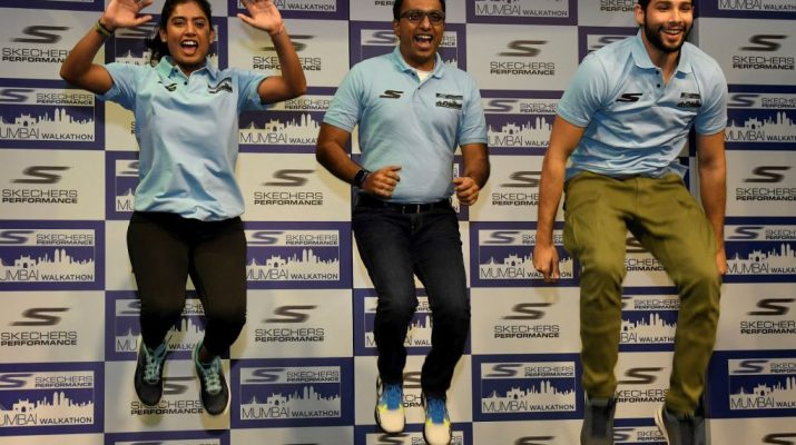 Mithali Raj - Rahul Vira - Skechers South Asia CEO and Siddhant Chaturvedi at jersey unveiling of Skechers Performance Mumbai Walkathon