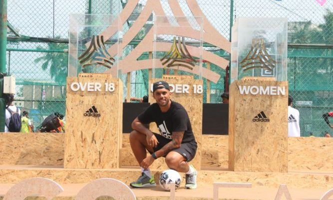 Former Indian footballer - Robin Singh launches adidas Tango League in Mumbai