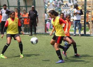 Girls in action during the adidas Tango League in Mumbai