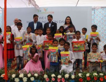 M3M Foundation trustees with the kids from Aide et action