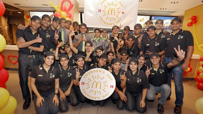 McDonalds employees in new uniforms on Founders Day celebrations in North and East India