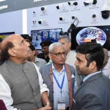 Minister of Defence, Rajnath Singh visits Globus Infocom at the India International Security Expo, 2019