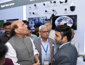 Minister of Defence - Rajnath Singh visits Globus Infocom at the India International Security Expo 2019