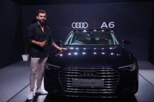 Virat Kohli - captain of Indian cricket team with the new Audi A6 launched in Mumbai on October 24 2019