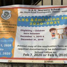 DAV Group of Schools - Gopalapuram - LKG Admission - Academic Year - 2020 - 2021