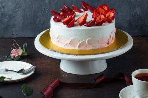 White creamy cake with strawberries Recipe - Chef Shivanand Kain - Senior Executive Chef - Jaypee Greens Golf and Spa Resort
