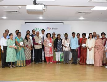 The team of doctors at Fortis Cancer Institute felicitating the care givers and the cancer survivors during the interactive session held on the account of World Cancer Day