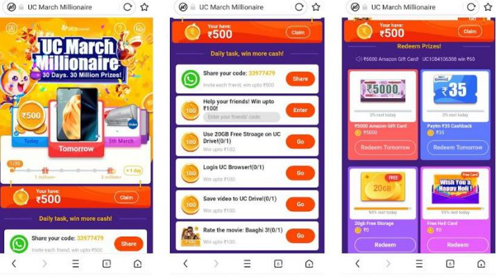 UC Browser Launches In-app UC March Millionaire Campaign to Celebrate Holi with its Users