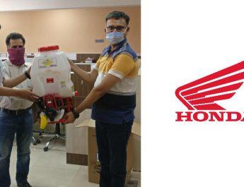 Honda India Foundation handing over Honda engine powered High Pressure Backpack Sprayers