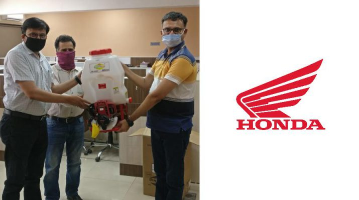 Honda India Foundation handing over Honda engine powered High Pressure Backpack Sprayers