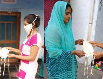Sonu Gujar distributing mask in her village