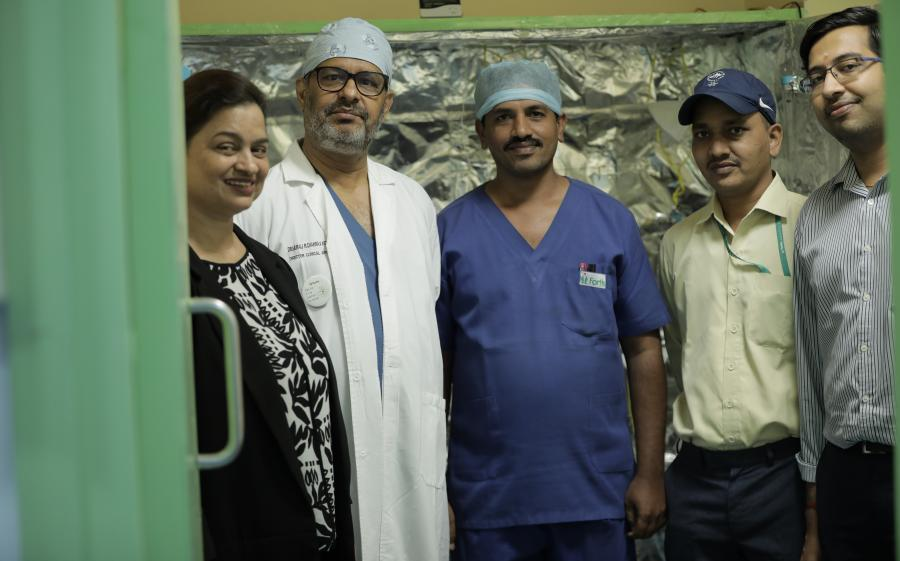 Team who made the initiative of sterilising N95 respirators with UV rays possible at Fortis Hospital Bannerghatta Road