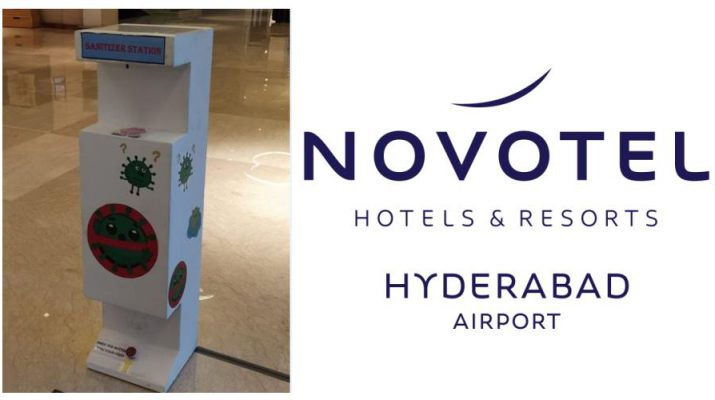 Foot Operated Sanitizer Dispensing Machine at Novotel Hyderabad Airport