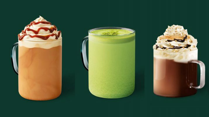 Starbucks - Dark Caramel Latte Hot or Iced Frappuccino - Matcha Sweet Cream Latte or Iced - Smores Latte or Frappuccino