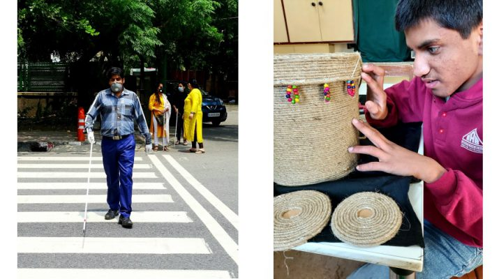 A visually impaired person crossing the street and another learning rope craft