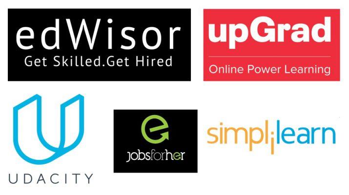 Best 5 startups - edWisor - upGrad - Udacity - Jobsforher - Simplilearn