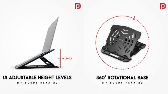 Portronics -My Buddy Hexa 22 - Rotatable Portable Laptop Stand