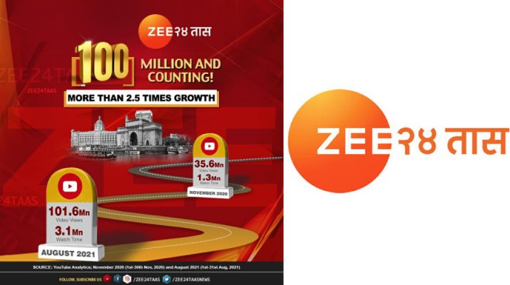 ZEE 24 TAAS YouTube Page Hits 100plus million views in August 2021